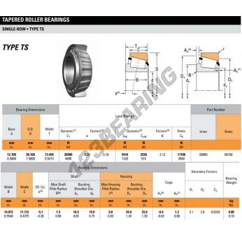 00050-00150-TIMKEN - 12.7x38.1x13.5 mm