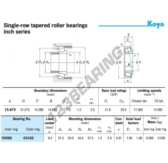 03062-03162-KOYO - 15.88x41.28x14.29 mm
