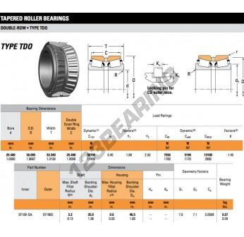 07100-SA-07196D-TIMKEN - 25.4x50.01x33.34 mm