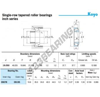 09078-09195-KOYO - 19.05x49.23x19.85 mm