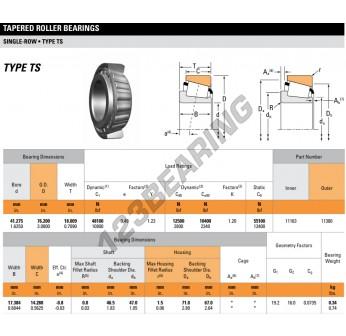 11163-11300-TIMKEN - 41.28x76.2x18.01 mm