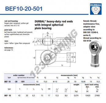 BEF10-20-501-DURBAL - 10x28x14 mm