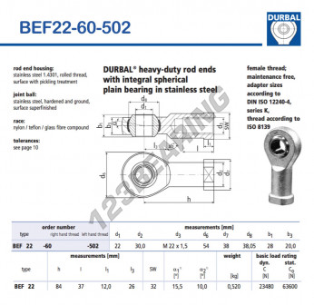 BEF22-60-502-DURBAL - 22x54x28 mm