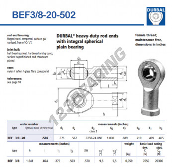 BEF3-8-20-502-DURBAL - 9.53x25.4x12.67 mm