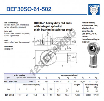 BEF30SO-61-502-DURBAL - 30x70x37 mm
