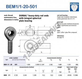 BEM1-1-20-501-DURBAL - x25.4 mm