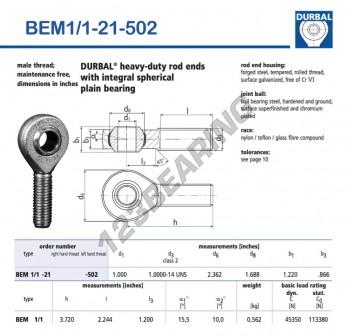 BEM1-1-21-502-DURBAL - x25.4 mm
