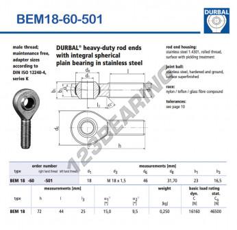 BEM18-60-501-DURBAL - x18 mm