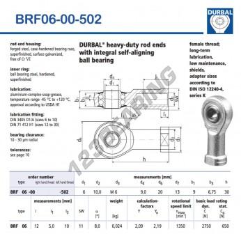 BRF06-00-502-DURBAL - 6x20x9 mm