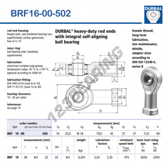 BRF16-00-502-DURBAL - 16x42x21 mm