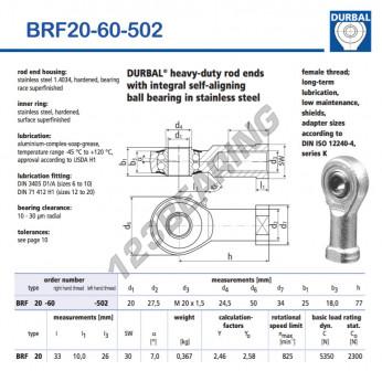 BRF20-60-502-DURBAL - 20x50x25 mm
