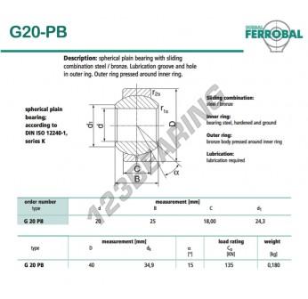 GE20-PB-DURBAL - 20x40x18 mm