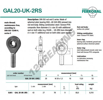DGAL20-UK-2RS-DURBAL