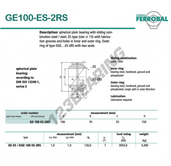 GE100-ES-2RS-DURBAL - 100x150x55 mm