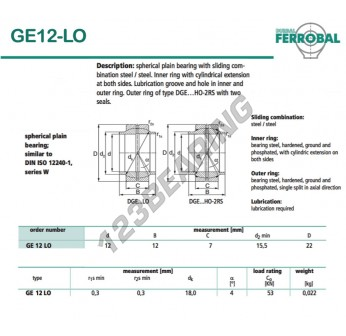 GE12-LO-DURBAL - 12x22x7 mm