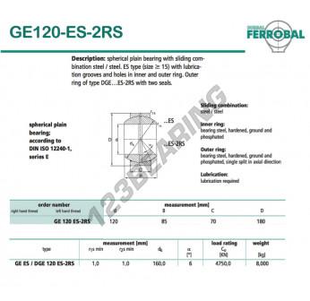 DGE120-ES-2RS-DURBAL - 120x180x70 mm