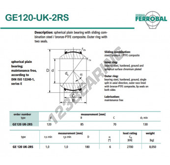 GE120-UK-2RS-DURBAL - 120x180x70 mm