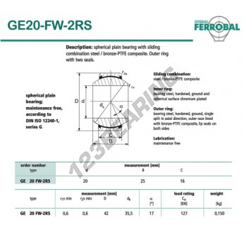 GE20-FW-2RS-DURBAL - 20x42x16 mm