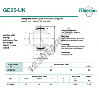 GE25-UK-DURBAL - 25x42x16 mm