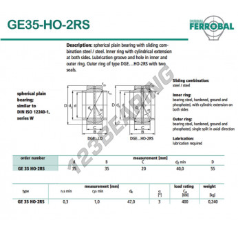 GE35-HO-2RS-DURBAL - 35x55x20 mm