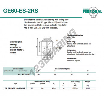 DGE60-ES-2RS-DURBAL - 60x90x36 mm