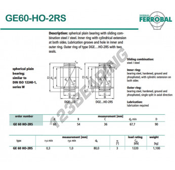 DGE60-HO-2RS-DURBAL - 60x90x36 mm