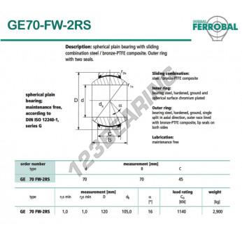DGE70-FW-2RS-DURBAL - 70x120x45 mm