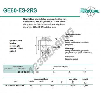 GE80-ES-2RS-DURBAL - 80x120x45 mm