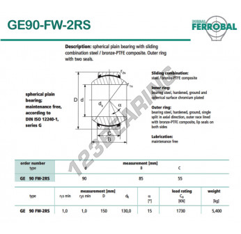 DGE90-FW-2RS-DURBAL - 90x150x55 mm