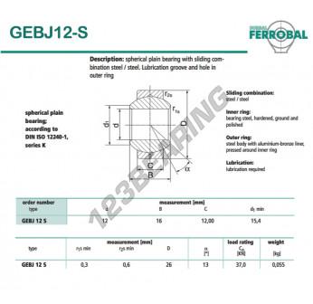DGEBJ12-S-DURBAL - 12x26x12 mm