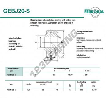 GEBJ20-S-DURBAL - 20x40x18 mm