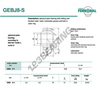 DGEBJ8-S-DURBAL - 8x19x9 mm