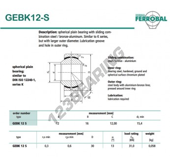 GEBK12-S-DURBAL - 12x30x12 mm