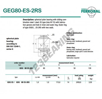 DGEG80-ES-2RS-DURBAL - 80x130x50 mm