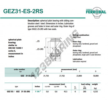 DGEZ31-ES-2RS-DURBAL - 31.75x50.8x23.8 mm