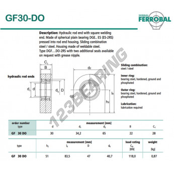 DGF30-DO-DURBAL - 30x65x28 mm
