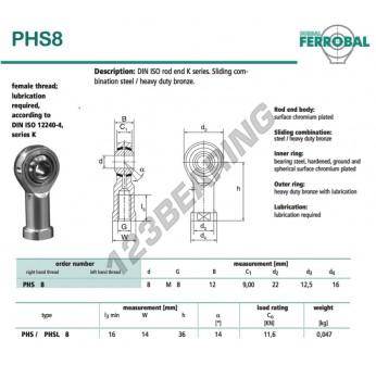 DPHS8-DURBAL - 8x22x12 mm