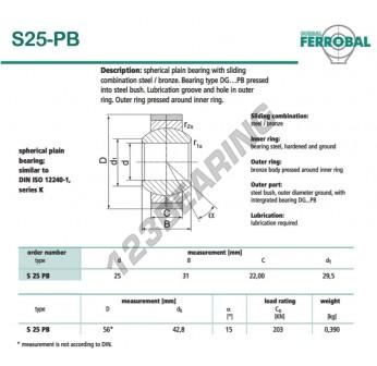 DS25-PB-DURBAL - 25x56x22 mm