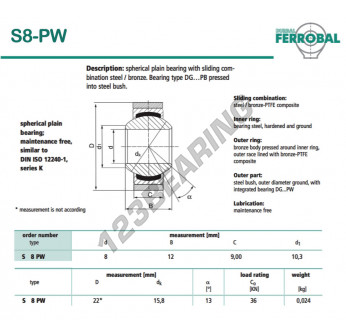 DS8-PW-DURBAL - 8x22x9 mm