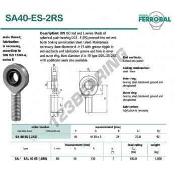 SA40-ES-2RS-DURBAL - x40 mm