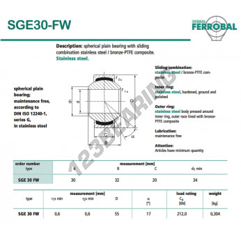SGE30-FW-DURBAL - 30x55x20 mm